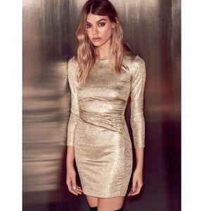 Lulu's lux of my life metalic gold bodycon dress s